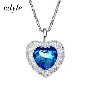 Crystals From Swarovski Necklace Women Pendants S925 Sterling Silver - Blue Purple Series Heart Austrian Rhinestone