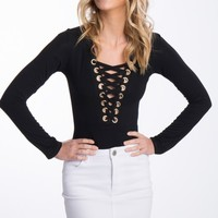 Ciara Lace Up Bodysuit Black - Tops - Clothing