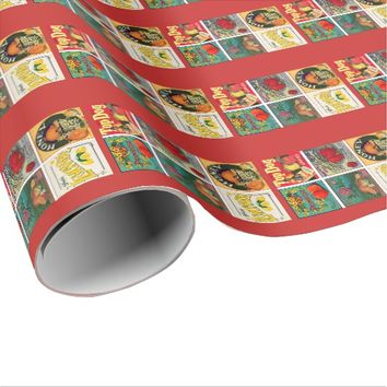 Vintage fruit advertisement wrapping paper