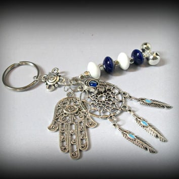 Bohemian key chain,evil eye key ring,boho key ring,gypsy key ring,hamsa key chain,long key ring