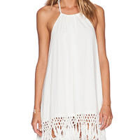 Lost in Alila Malibu Tassel Dress in White