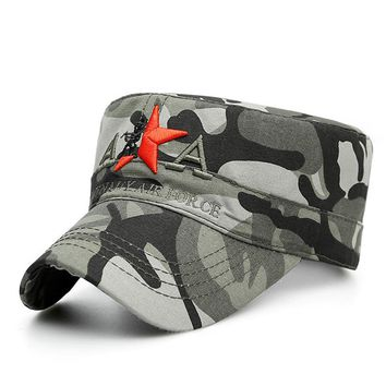 Mounchain Outdoor Sports Hiking Caps Star Embroidery Cotton Flat Top Hat Sun Shading Camouflage Leisure Baseball Cap