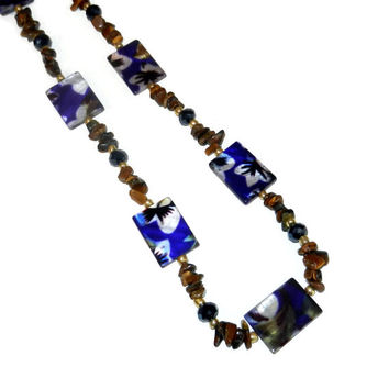 Floral Navy and Brown Beaded Necklace, 25 Inch Necklace