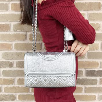Tory Burch Small Fleming Quilted Leather Shoulder Bag Crossbody Spark Silver