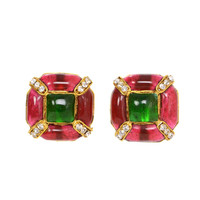 Chanel Vintage '80s Gripoix & Crystal Clip On Earrings