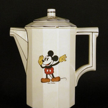 SALE-15% OFF Mickey Mouse coffee pot. vintage Mickey mouse. French coffee pot. vintage Walt Disney. art deco. vintage coffee pot. Minnie Mou