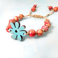 Adjustable Painted Wood Bracelet with Dangles