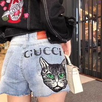 Gucci Popular Woman Personality Cat Letter Print A Pair Of Jeans Shorts