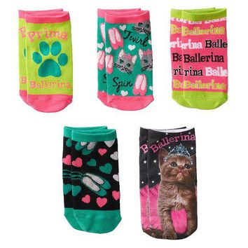 LMFPL3 Pink Cookie 5-pk.  Ballerina  Cat Princess No-Show Socks - Girls Size