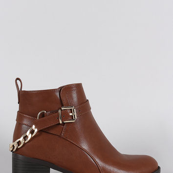 Breckelle Buckled Rear Chain Moto Booties