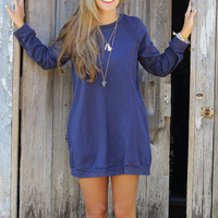 Keep Calm & Carefree Navy Raglan Sweatshirt Dress
