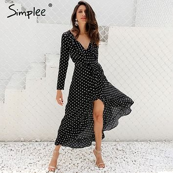 Simplee Autumn long sleeve polka dot ruffle wrap dress Women sexy v neck split maxi dress vestidos Summer beach black long dress
