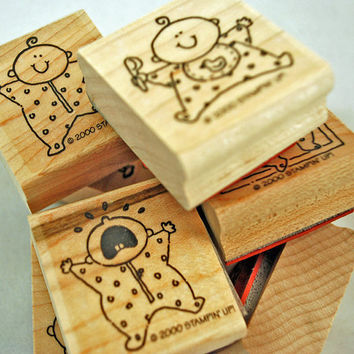 """STAMPIN UP Stamp Set 2000 Retired Rubber Stamp Set - Never Used Mint Condition """"Baby Firsts"""" VERY Hard to Find"""