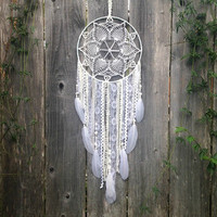 White Doily Dreamcatcher // Handmade Dream Catcher