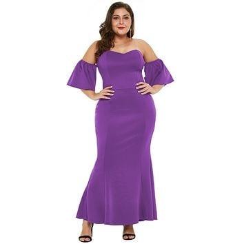 Purple Sexy Strapless Drop Shoulder Plus Size Maxi Dress with Ruffles