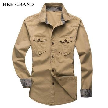 HEE GRAND Men's Slim Fitting Shirts Long-Sleeve Hot Sale Casual Turn-Down Collar Shirts Chemise Homme 2 Style MCL1402