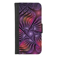Colorful Fantasy Abstract Modern Purple Fractal iPhone 8/7 Wallet Case