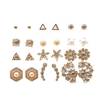 Embellished Stud Earrings - 12 Pack