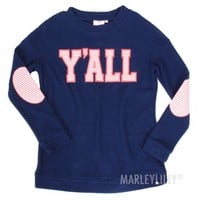 Y'all Pullover in Navy   Marleylilly