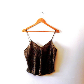 Antique cream / mocha / black / rose print / vintage / silky  / camisole / vest / top