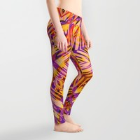 Funkydelic - Purple Yellow Red Geometric Leggings by Webgrrl