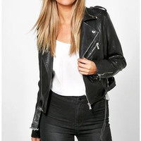 Crop Leather Look Biker Jacket