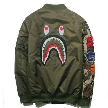 Bape Shark Print Men Women Trending Long Sleeve Hoodie Jacket Coat Green