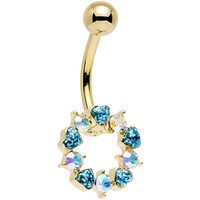 Aurora and Aqua Gem Gold Plated Heart Wreath Ring Belly Ring | Body Candy Body Jewelry