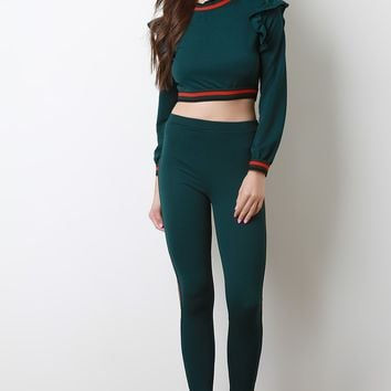 Striped Ruffled Crop Top With High Waisted Pants Set