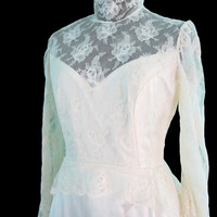 Vintage Wedding Dress Gown Long Sleeve with Mantilla Juilet Cap Veil