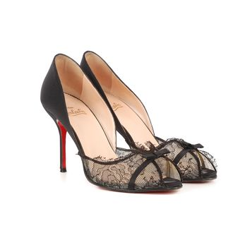 Louboutin Black Lace Pumps