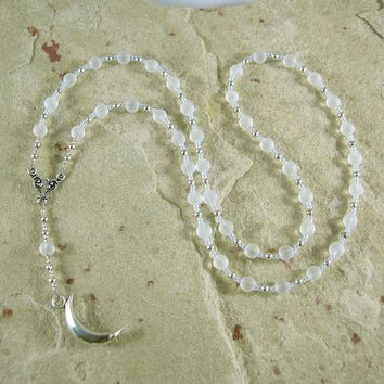 Khonsu Prayer Bead Necklace in Quartz Crystal: Egyptian God of the Moon