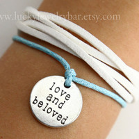 Love bracelet, love and beloved bracelet, whie leather bracelet