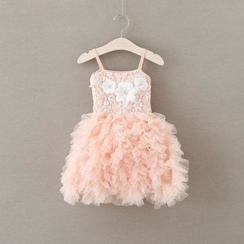 2016 Summer New Lace Vest Girl Dress Baby Girl Princess Dress 2-6 Age Children Clothes Kids Party Costume Ball Gown pink