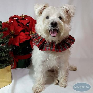Red Royal Stewart Tartan Plaid Dog Scrunchie Neck Ruffle