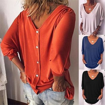 Back Button Loose T Shirt Tops V Neck Seven Sleeves T Shirt Tees Solid Color Women Clothes Black Drop Ship 220204