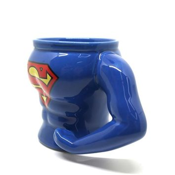 Creative Punk Superman and Batman Ceramic Coffee Mugs Fashion Cartoon Drink Cups