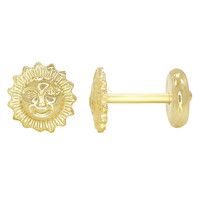 Gold Plated 18k Earrings Newborn Infants Girl Sun High Security 4mm Baby Gift
