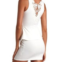 Crochet Back Peplum Dress by Charlotte Russe - White