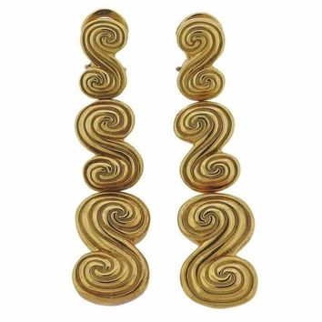 DCCKG2C Tiffany & Co. Gold Swirl Motif Long Drop Earrings