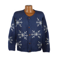Ugly Christmas Sweater Vintage Cropped Snowflake Cardigan Tacky Holiday Party Women's size S / M
