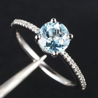 6.5mm Natural Aquamarine H/SI Diamond 14K White Gold Engagement/Promise Gem Ring