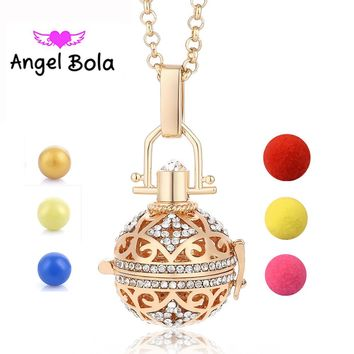 Angel Bola Perfume Aromatherapy Pendant Essential Oil Diffuser Locket Cage Necklace Pendant For Women Gift Jewelry L064