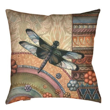 Dragonfly Throw Pillow - Uv Treated And Weather Proof