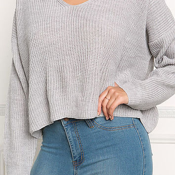 Grey Choker Chunky Knit Sweater Top