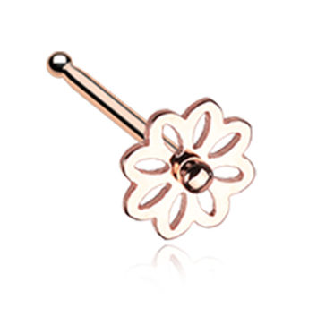 Rose Gold Color Daisy Breeze Flower Nose Stud Ring - 20 G - Sold as a Pair
