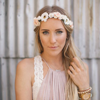Bohemia Handmade Flower Crown Wedding Wreath Bridal Headdress Headband Hairband Hair Band Accessories for Women Lady Girl