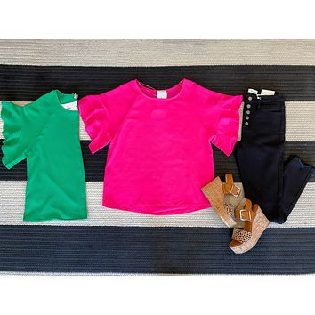 Moxie Ruffle Sleeve Top in Kelly Green and Hot Pink