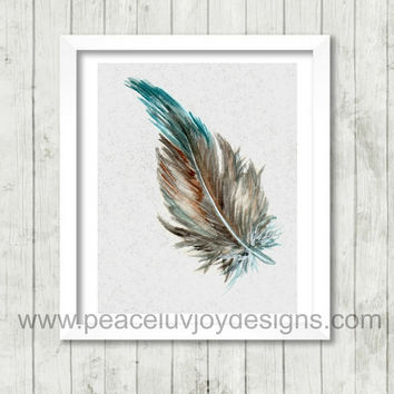 Printable Art, Feather, 8x10, Instant Download. Office Wall Art.