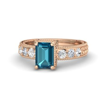 Emerald-Cut London Blue Topaz 18K Rose Gold Ring with White Sapphire & Diamond